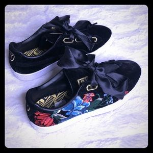 Puma Black with Floral Embroidered Sneakers